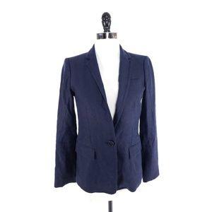 J.Crew 100% Linen One Button Navy Blazer Jacket